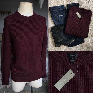 J. Crew Burgundy Oversized Cotton Knit Sweater